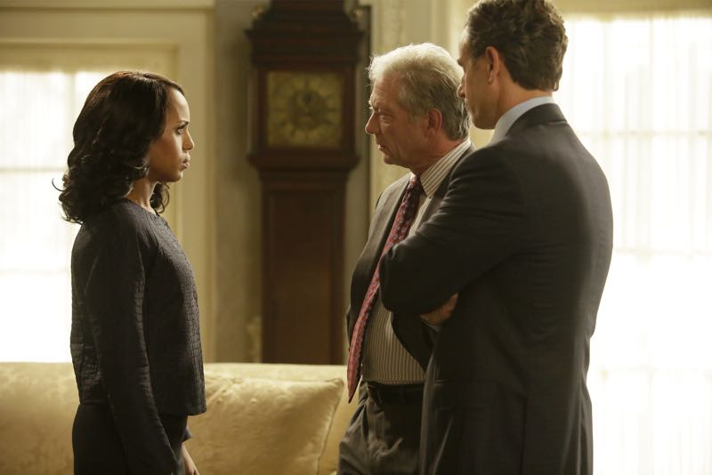 "SCANDAL - ""Get Out of Jail, Free"" - Fitz and Olivia are presented with a shocking plan that might just make all of their troubles go away, and Mellie is put through the ringer when confronted about her troubled marriage. Meanwhile, the Gladiators continue to defend Olivia, and Susan Ross turns to David for advice, on ""Scandal,"" THURSDAY, OCTOBER 29 (9:00-10:00 p.m., ET) on the ABC Television Network. (ABC/Nicole Wilder) KERRY WASHINGTON, JEFF PERRY, TONY GOLDWYN"