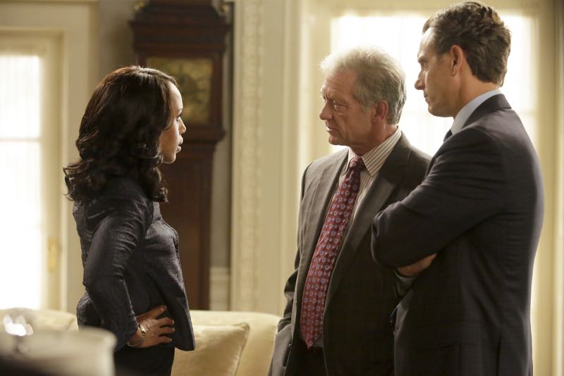 """SCANDAL - """"Get Out of Jail, Free"""" - Fitz and Olivia are presented with a shocking plan that might just make all of their troubles go away, and Mellie is put through the ringer when confronted about her troubled marriage. Meanwhile, the Gladiators continue to defend Olivia, and Susan Ross turns to David for advice, on """"Scandal,"""" THURSDAY, OCTOBER 29 (9:00-10:00 p.m., ET) on the ABC Television Network. (ABC/Nicole Wilder) KERRY WASHINGTON, JEFF PERRY, TONY GOLDWYN"""