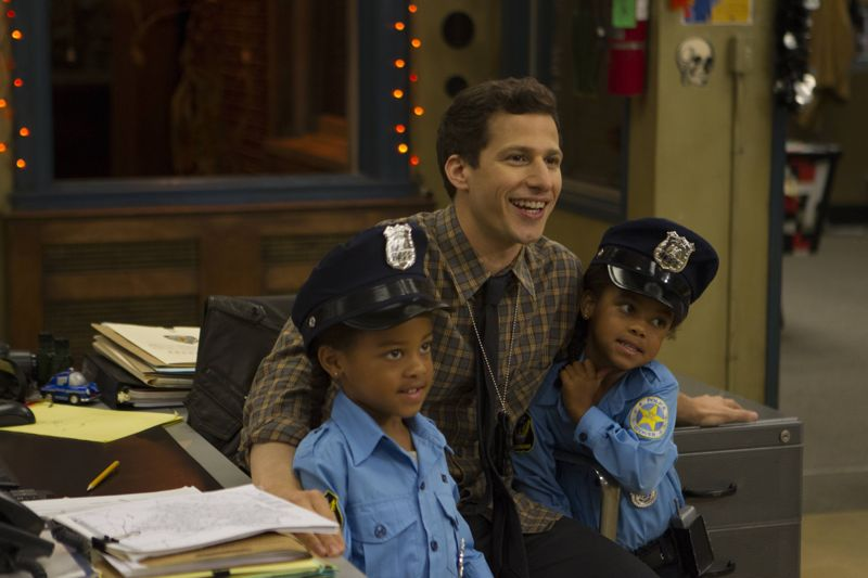 "BROOKLYN NINE-NINE: L-R: Cagney Jeffords, Andy Samberg and Lacey Jeffords in the ""Halloween 3"" episode of BROOKLYN NINE-NINE airing Sunday, Oct. 25 (8:30-9:00 PM ET/PT) on FOX.  ©2015 Fox Broadcasting Co. Cr: FOX"