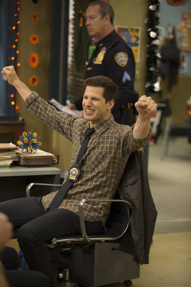 "BROOKLYN NINE-NINE: L-R: Andy Samberg in the ""Halloween 3"" episode of BROOKLYN NINE-NINE airing Sunday, Oct. 25 (8:30-9:00 PM ET/PT) on FOX.  ©2015 Fox Broadcasting Co. Cr: FOX"