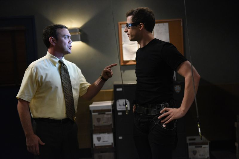 "BROOKLYN NINE-NINE: L-R: Joe Lo Truglio and Andy Samberg in the ""Halloween 3"" episode of BROOKLYN NINE-NINE airing Sunday, Oct. 25 (8:30-9:00 PM ET/PT) on FOX.  ©2015 Fox Broadcasting Co. Cr: FOX"