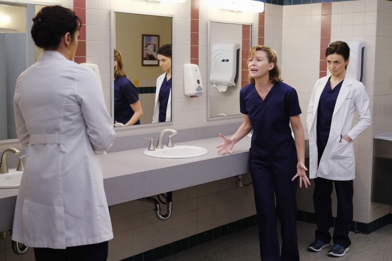 """GREY'S ANATOMY - """"The Me Nobody Knows"""" - Grey Sloan Memorial not only welcomes a new transfer resident, but also a patient who's the topic of conversation after accidently sending his sex tape to his entire congregation. Meanwhile, Richard wrestles with how to progress his relationship with Maggie when an old friend visits the hospital, and April brings in a case of a young boy from the Middle-East, on """"Grey's Anatomy,"""" THURSDAY, NOVEMBER 5 (8:00--9:00 p.m., ET) on the ABC Television Network. (ABC/Tony Rivetti) SARA RAMIREZ, ELLEN POMPEO, CATERINA SCORSONE"""