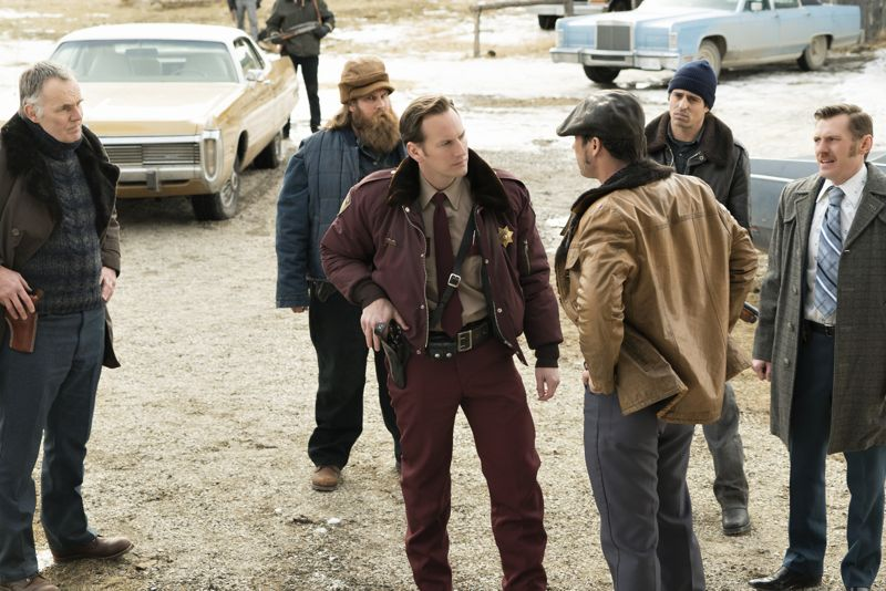 """FARGO -- """"The Myth of Sisyphus"""" -- Episode 203 (Airs October 26, 10:00 pm e/p) Pictured: (l-r, front-row) Patrick Wilson as Lou Solverson, Jeffrey Donovan as Dodd Gerhardt, Keir O'Donnell as Ben Schmidt. CR: Chris Large/FX"""