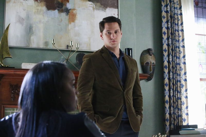 """HOW TO GET AWAY WITH MURDER - """"Two Birds, One Millstone"""" - Annalise takes on a new client, a transgender professor accused of killing her husband. Meanwhile, the Keating 5 are left to handle the Hapstall case and they discover a shocking new suspect, on  """"How to Get Away with Murder,"""" THURSDAY OCTOBER 29 (10:00-11:00 p.m., ET) on the ABC Television Network. (ABC/Mitch Haaseth) AJA NAOMI KING, MATT MCGORRY"""