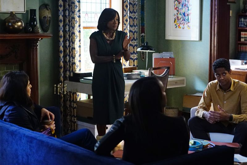 """HOW TO GET AWAY WITH MURDER - """"Two Birds, One Millstone"""" - Annalise takes on a new client, a transgender professor accused of killing her husband. Meanwhile, the Keating 5 are left to handle the Hapstall case and they discover a shocking new suspect, on  """"How to Get Away with Murder,"""" THURSDAY OCTOBER 29 (10:00-11:00 p.m., ET) on the ABC Television Network. (ABC/Richard Cartwright) KARLA SOUZA, VIOLA DAVIS, AJA NAOMI KING, ALFRED ENOCH"""