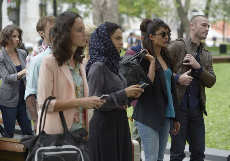 """QUANTICO - """"Found"""" - The trainees leave campus for the first time while undergoing their first undercover assignment. With an evening full of unpredictable events, Alex and Ryan find themselves getting close while the recruits' skills are tested. In the future, Alex decides to tell her side of the story and sits down for her first public interview leaving everyone watching to wonder who is really telling the truth, on """"Quantico,"""" SUNDAY, OCTOBER 25 (10:01-11:00 p.m., ET) on the ABC Television Network. (ABC/Phillippe Bosse) YASMINE AL MASSRI, PRIYANKA CHOPRA, JAKE MCLAUGHLIN"""
