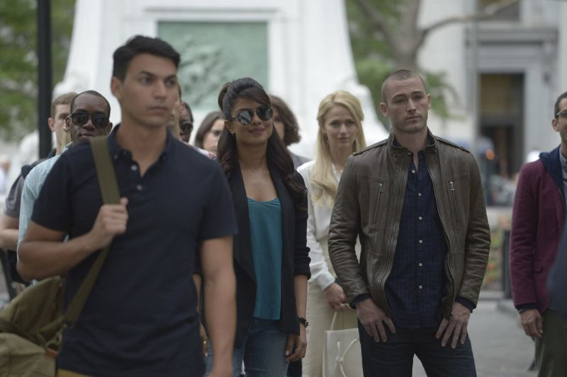 """QUANTICO - """"Found"""" - The trainees leave campus for the first time while undergoing their first undercover assignment. With an evening full of unpredictable events, Alex and Ryan find themselves getting close while the recruits' skills are tested. In the future, Alex decides to tell her side of the story and sits down for her first public interview leaving everyone watching to wonder who is really telling the truth, on """"Quantico,"""" SUNDAY, OCTOBER 25 (10:01-11:00 p.m., ET) on the ABC Television Network. (ABC/Phillippe Bosse) PRIYANKA CHOPRA, JOHANNA BRADDY, JAKE MCLAUGHLIN"""
