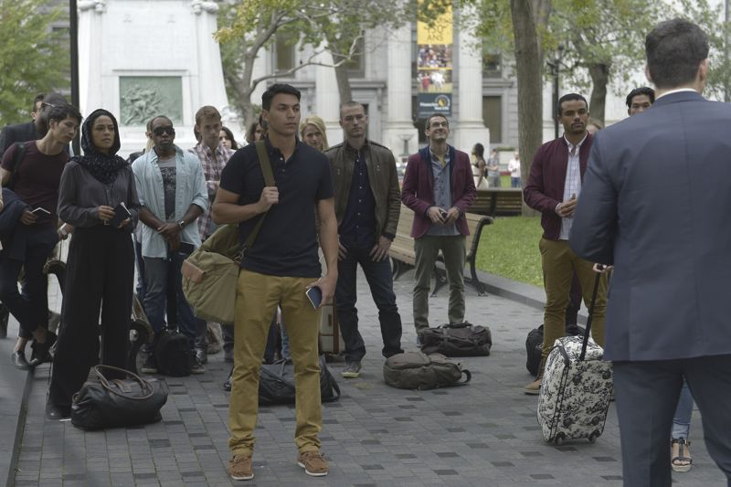 """QUANTICO - """"Found"""" - The trainees leave campus for the first time while undergoing their first undercover assignment. With an evening full of unpredictable events, Alex and Ryan find themselves getting close while the recruits' skills are tested. In the future, Alex decides to tell her side of the story and sits down for her first public interview leaving everyone watching to wonder who is really telling the truth, on """"Quantico,"""" SUNDAY, OCTOBER 25 (10:01-11:00 p.m., ET) on the ABC Television Network. (ABC/Phillippe Bosse) YASMINE AL MASSRI, JAKE MCLAUGHLIN, TATE ELLINGTON, JACOB ARTIST, JOSH HOPKINS"""