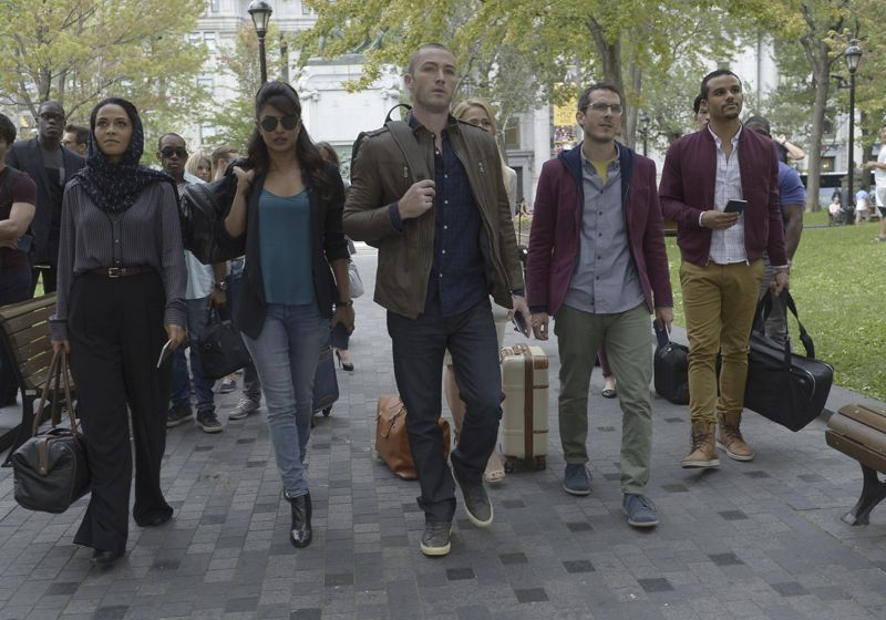 """QUANTICO - """"Found"""" - The trainees leave campus for the first time while undergoing their first undercover assignment. With an evening full of unpredictable events, Alex and Ryan find themselves getting close while the recruits' skills are tested. In the future, Alex decides to tell her side of the story and sits down for her first public interview leaving everyone watching to wonder who is really telling the truth, on """"Quantico,"""" SUNDAY, OCTOBER 25 (10:01-11:00 p.m., ET) on the ABC Television Network. (ABC/Phillippe Bosse) YASMINE AL MASSRI, PRIYANKA CHOPRA, JAKE MCLAUGHLIN, JOHANNA BRADDY (OBSCURED), TATE ELLINGTON, JACOB ARTIST"""