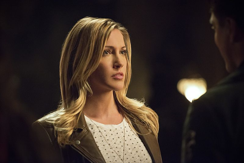 "Arrow -- ""Restoration"" -- Image AR403B_0170b.jpg -- Pictured (L-R): Katie Cassidy as Laurel Lance and John Barrowman as Malcolm Merlyn -- Photo: Diyah Pera /The CW -- © 2015 The CW Network, LLC. All Rights Reserved."