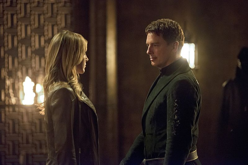 "Arrow -- ""Restoration"" -- Image AR403B_0160b.jpg -- Pictured (L-R): Katie Cassidy as Laurel Lance and John Barrowman as Malcolm Merlyn -- Photo: Diyah Pera /The CW -- © 2015 The CW Network, LLC. All Rights Reserved."