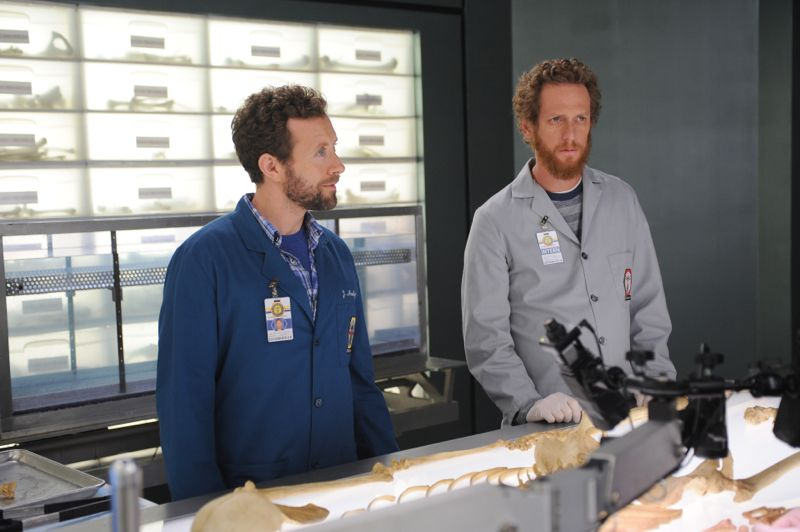 "BONES: L-R: TJ Thyne and guest star Brian Klugman in the ""The Carpals in the Coy-Wolves"" episode of BONES airing Thursday, Oct. 22 (8:00-9:00 PM ET/PT) on FOX. ©2015 Fox Broadcasting Co. Cr:"