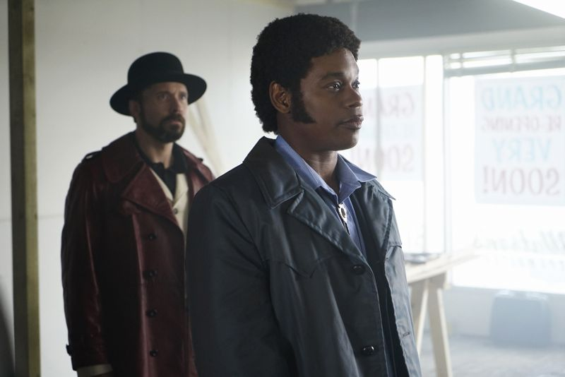 "FARGO -- ""Before The Law"" -- Episode 202 (Airs October 19, 10:00 pm e/p) Pictured: (l-r) Brad Mann as Gale Kitchen, Bokeem Woodbine as Mike Milligan. CR: Chris Large/FX"