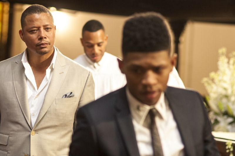 """EMPIRE: L-R: Terrence Howard, Trai Byers and Bryshere Gray in the """"Be True"""" episode of EMPIRE airing Wednesday, Oct. 21 (9:00-10:00 PM ET/PT) on FOX. ©2015 Fox Broadcasting Co. Cr: Matt Dinerstein/FOX."""