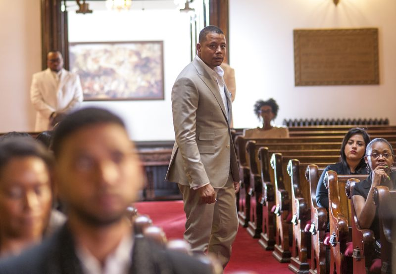 """EMPIRE: L-R: Jussie Smollett and Terrence Howard in the """"Be True"""" episode of EMPIRE airing Wednesday, Oct. 21 (9:00-10:00 PM ET/PT) on FOX. ©2015 Fox Broadcasting Co. Cr: Matt Dinerstein/FOX."""