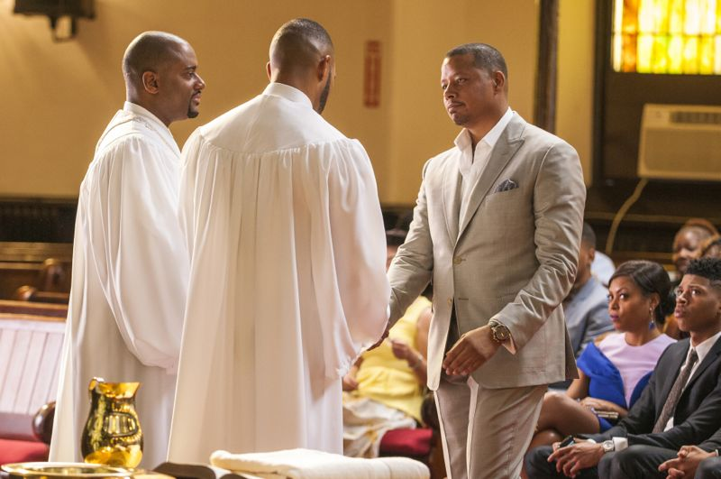 """EMPIRE: L-R: Guest star Charles Malik Whitfield, Trai Byers and Terrence Howard in the """"Be True"""" episode of EMPIRE airing Wednesday, Oct. 21 (9:00-10:00 PM ET/PT) on FOX. ©2015 Fox Broadcasting Co. Cr: Matt Dinerstein/FOX."""