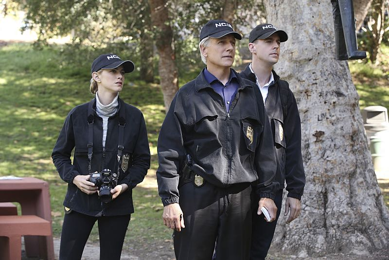 """Viral"" -- When a petty officer's murder matches the M.O. of a local serial killer, the NCIS team must determine if this is the killer's latest victim or the work of a copycat, on NCIS, Tuesday, Oct. 27 (8:00-9:00 PM, ET/PT), on the CBS Television Network. Pictured left to right: Emily Wickersham, Mark Harmon and Sean Murray Photo: Monty Brinton/CBS ©2015 CBS Broadcasting, Inc. All Rights Reserved"