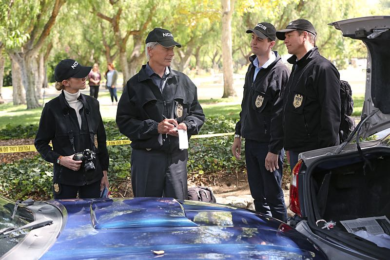 """Lockdown"" -- While visiting a pharmaceutical lab on a murder case, Abby is trapped with no communication to the outside world after armed men take over the building and hold everyone hostage, on NCIS, Tuesday, Oct. 20 (8:00-9:00 PM, ET/PT), on the CBS Television Network. Pictured left to right: Emily Wickersham, Mark Harmon, Sean Murray and Michael Weatherly Photo: Monty Brinton/CBS ©2015 CBS Broadcasting, Inc. All Rights Reserved"