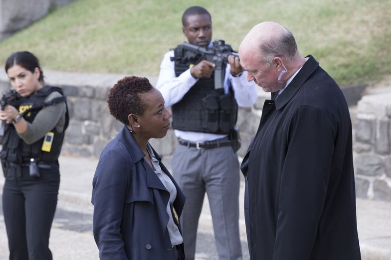 "BLINDSPOT -- ""Split The Law"" Episode 105 -- Pictured: (l-r) Marianne Jean-Baptiste as Bethany Mayfair, Michael Gastin as Thomas Carter -- (Photo by: Paul Sarkis/NBC)"