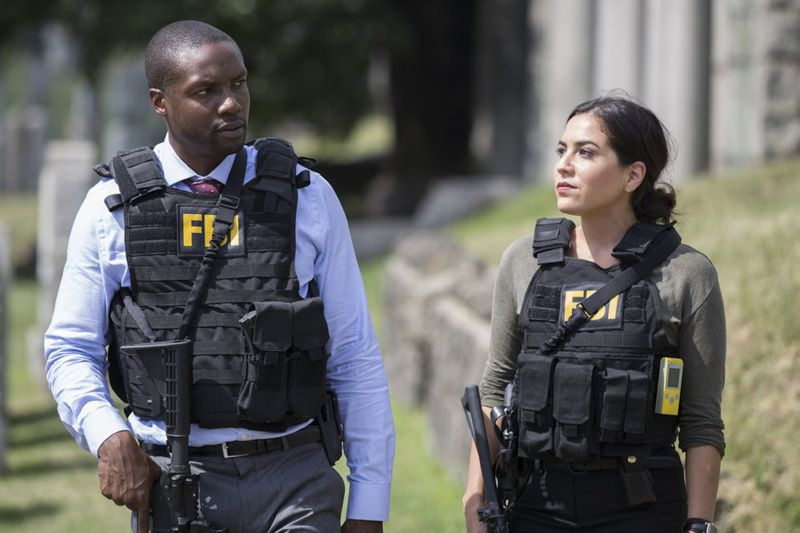 "BLINDSPOT -- ""Split The Law"" Episode 105 -- Pictured: (l-r) Rob Brown as Edgar Reed, Audrey Esparza as Tasha Zapata -- (Photo by: Paul Sarkis/NBC)"