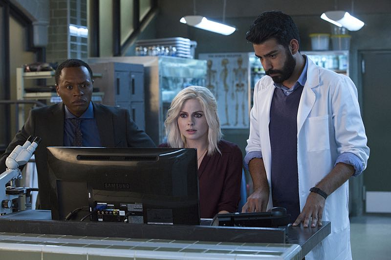 "iZombie -- ""Zombie Bro"" Malcolm Goodwin as Clive, Rose McIver as Liv and Rahul Kohli as Ravi -- Photo: Jack Rowand/The CW"
