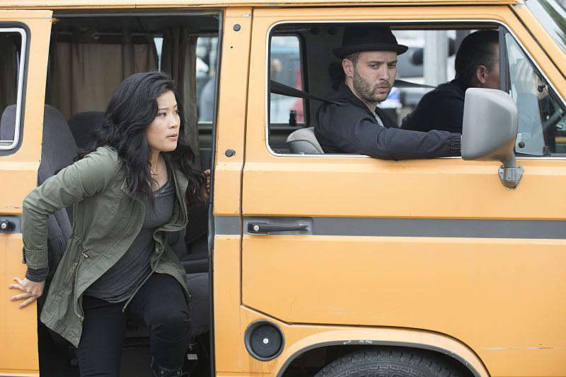 """""""Super Fun Guys"""" -- Team Scorpion goes undercover on the """"Super Fun Guy"""" movie set in Kazakstan in order to disable a soviet era nuclear missile being sold by terrorists, on SCORPION, Monday, Oct. 19 (9:00-9:59 PM, ET/PT) on the CBS Television Network. Pictured: Jadyn Wong as Happy Quinn, Eddie Kaye Thomas as Toby Curtis. Photo: Neil Jacobs/CBS ©2015 CBS Broadcasting, Inc. All Rights Reserved"""