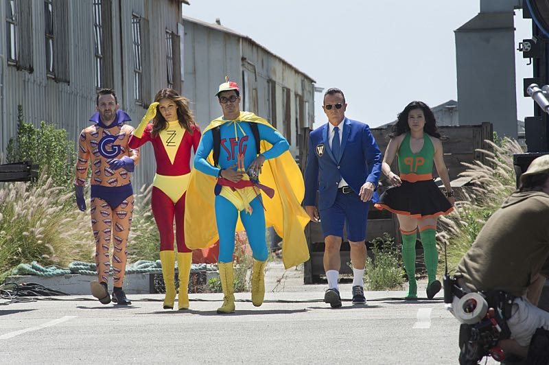 """""""Super Fun Guys"""" -- Team Scorpion goes undercover on the """"Super Fun Guy"""" movie set in Kazakstan in order to disable a soviet era nuclear missile being sold by terrorists, on SCORPION, Monday, Oct. 19 (9:00-9:59 PM, ET/PT) on the CBS Television Network. Pictured: Eddie Kaye Thomas as Toby Curtis, Katharine McPhee as Paige DIneen, Elyes Gabel as Walter O'Brien, Robert Patrick as Agent Cabe Gallo, Jadyn Wong as Happy Quinn. Photo: Neil Jacobs/CBS ©2015 CBS Broadcasting, Inc. All Rights Reserved"""