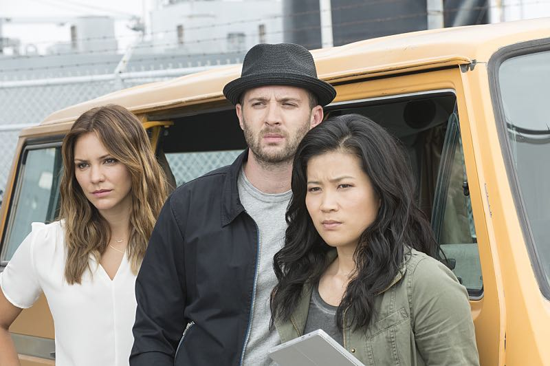 """""""Super Fun Guys"""" -- Team Scorpion goes undercover on the """"Super Fun Guy"""" movie set in Kazakstan in order to disable a soviet era nuclear missile being sold by terrorists, on SCORPION, Monday, Oct. 19 (9:00-9:59 PM, ET/PT) on the CBS Television Network. Pictured: Katharine McPhee as Paige DIneen, Eddie Kaye Thomas as Toby Curtis, Jadyn Wong as Happy Quinn. Photo: Neil Jacobs/CBS ©2015 CBS Broadcasting, Inc. All Rights Reserved"""