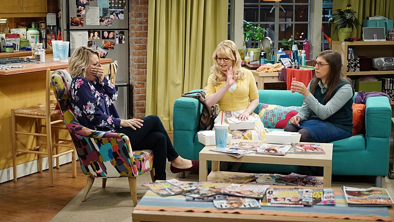 """""""The Perspiration Implementation"""" -- When Stuart struggles to get female customers at the Comic Book Store, Penny, Amy and Bernadette come by to help him out, on THE BIG BANG THEORY, Monday, Oct. 19 (8:00-8:31 PM, ET/PT), on the CBS Television Network. Pictured left to right: Kaley Cuoco, Melissa Rauch and Mayim Bialik Photo: Monty Brinton/CBS ©2015 CBS Broadcasting, Inc. All Rights Reserved"""