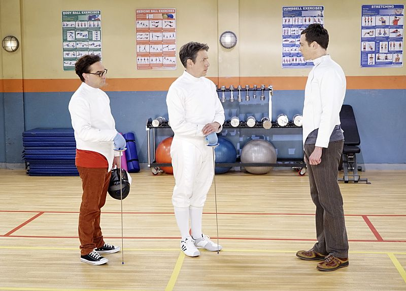 """""""The Perspiration Implementation"""" -- The guys take a fencing lesson from Barry Kripke and Sheldon finds himself in an awkward position when Kripke expresses interest in Amy, on THE BIG BANG THEORY, Monday, Oct. 19 (8:00-8:31 PM, ET/PT), on the CBS Television Network. Pictured left to right: Johnny Galecki, John Ross Bowie and Jim Parsons Photo: Monty Brinton/CBS ©2015 CBS Broadcasting, Inc. All Rights Reserved"""