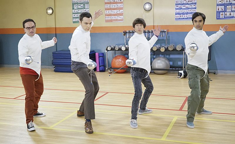 """""""The Perspiration Implementation"""" -- The guys take a fencing lesson from Barry Kripke and Sheldon finds himself in an awkward position when Kripke expresses interest in Amy, on THE BIG BANG THEORY, Monday, Oct. 19 (8:00-8:31 PM, ET/PT), on the CBS Television Network. Pictured left to right: Johnny Galecki, Jim Parsons, Simon Helberg and Kunal Nayyar Photo: Monty Brinton/CBS ©2015 CBS Broadcasting, Inc. All Rights Reserved"""