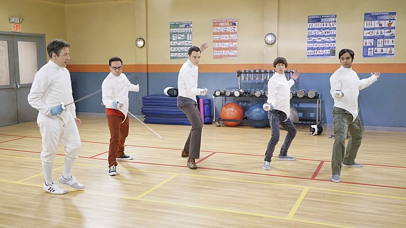 """""""The Perspiration Implementation"""" -- The guys take a fencing lesson from Barry Kripke and Sheldon finds himself in an awkward position when Kripke expresses interest in Amy, on THE BIG BANG THEORY, Monday, Oct. 19 (8:00-8:31 PM, ET/PT), on the CBS Television Network. Pictured left to right: John Ross Bowie, Johnny Galecki, Jim Parsons, Simon Helberg, Kunal Nayyar Photo: Monty Brinton/CBS ©2015 CBS Broadcasting, Inc. All Rights Reserved"""