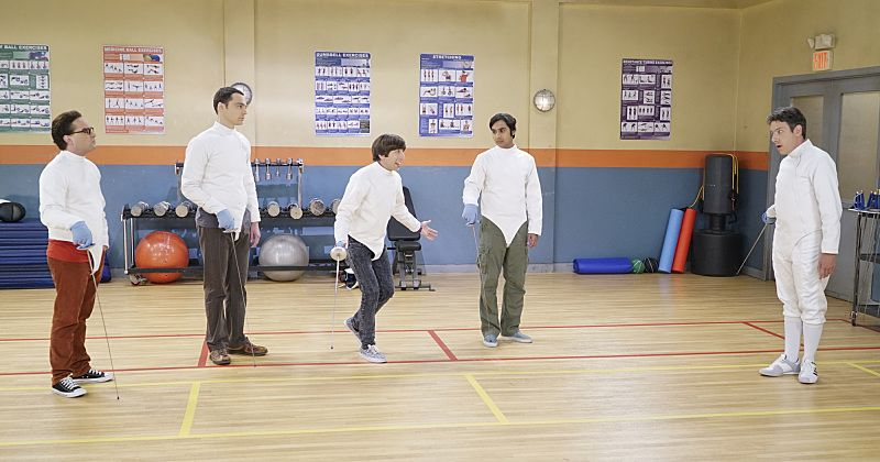 """""""The Perspiration Implementation"""" -- The guys take a fencing lesson from Barry Kripke and Sheldon finds himself in an awkward position when Kripke expresses interest in Amy, on THE BIG BANG THEORY, Monday, Oct. 19 (8:00-8:31 PM, ET/PT), on the CBS Television Network. Pictured left to right: Johnny Galecki, Jim Parsons, Simon Helberg, Kunal Nayyar and John Ross Bowie Photo: Monty Brinton/CBS ©2015 CBS Broadcasting, Inc. All Rights Reserved"""