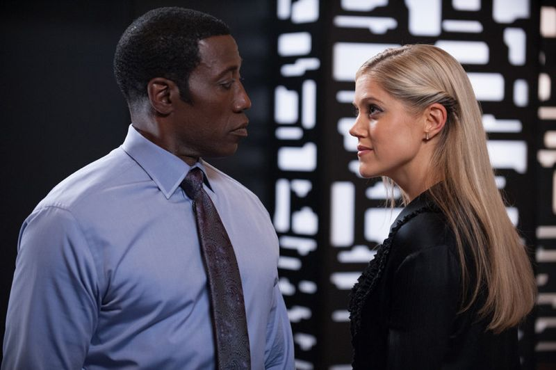 """THE PLAYER -- """"The Big Blind"""" Episode 103 -- Pictured: (l-r) Wesley Snipes as Mr. Johnson, Charity Wakefield as Cassandra -- (Photo by: Colleen Hayes/NBC)"""