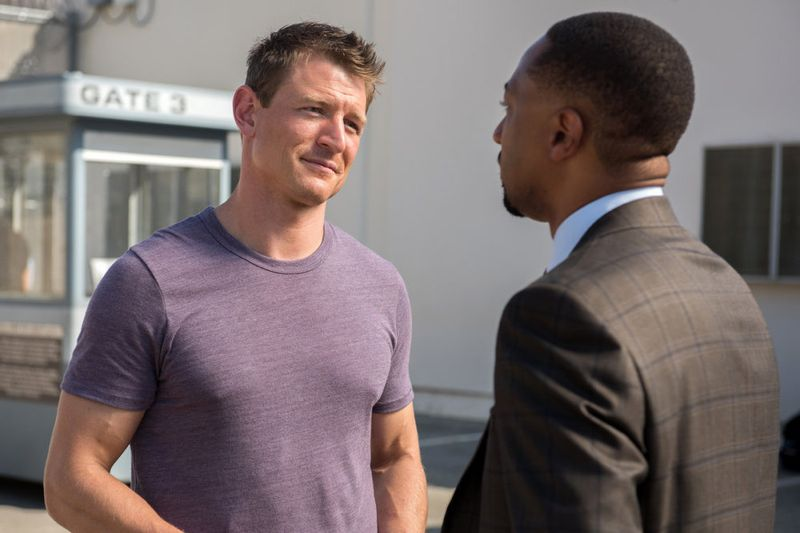 """THE PLAYER -- """"The Big Blind"""" Episode 103 -- Pictured: (l-r) Philip Winchester as Alex, Damon Gupton as Detective Cal Brown -- (Photo by: Colleen Hayes/NBC)"""