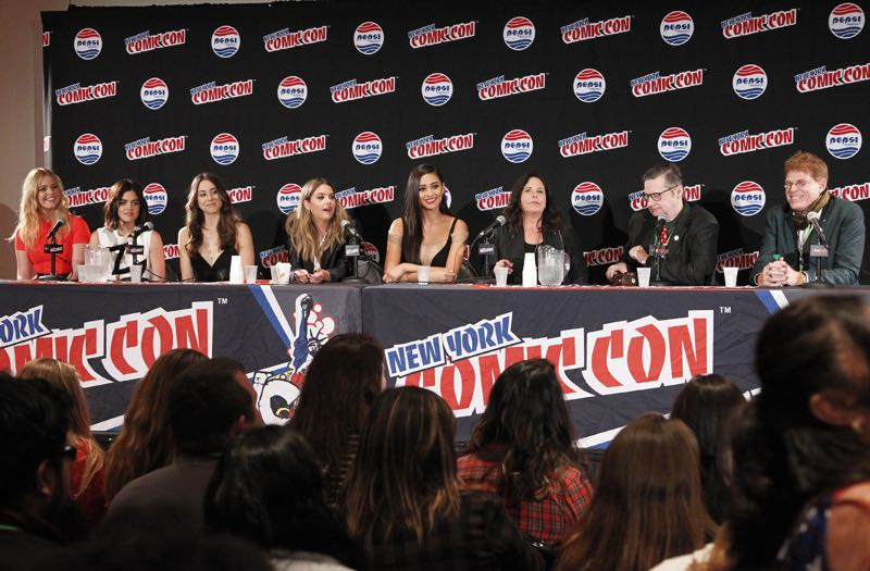"PRETTY LITTLE LIARS - Lucy Hale, Shay Mitchell, Ashley Benson, Troian Bellisario and Sasha Pieterse as well as Executive producers Marlene King, Oliver Goldstick and Joseph Dougherty assemble at Comic-Con New York to preview the new mystery facing the girls when ""Pretty Little Liars"" returns in January 2016. (ABC Family/Lou Rocco) SASHA PIETERSE, LUCY HALE, TROIAN BELLISARIO, ASHLEY BENSON, SHAY MITCHELL, MARLENE KING, OLIVER GOLDSTICK, JOSEPH DOUGHERTY"