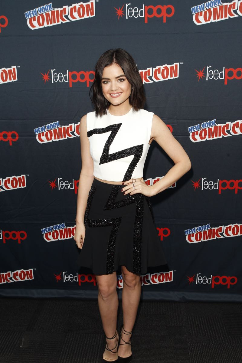 "PRETTY LITTLE LIARS - Lucy Hale, Shay Mitchell, Ashley Benson, Troian Bellisario and Sasha Pieterse as well as Executive producers Marlene King, Oliver Goldstick and Joseph Dougherty assemble at Comic-Con New York to preview the new mystery facing the girls when ""Pretty Little Liars"" returns in January 2016. (ABC Family/Lou Rocco) LUCY HALE"