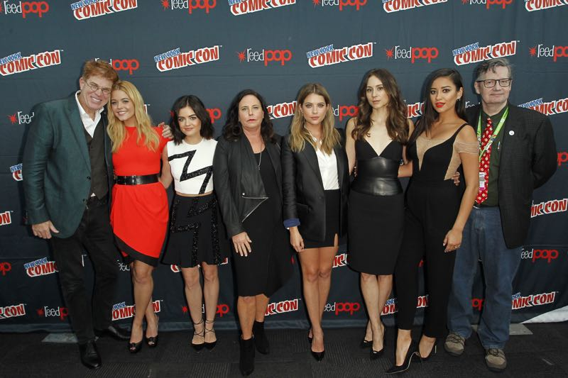 "PRETTY LITTLE LIARS - Lucy Hale, Shay Mitchell, Ashley Benson, Troian Bellisario and Sasha Pieterse as well as Executive producers Marlene King, Oliver Goldstick and Joseph Dougherty assemble at Comic-Con New York to preview the new mystery facing the girls when ""Pretty Little Liars"" returns in January 2016. (ABC Family/Lou Rocco) OLIVER GOLDSTICK, SASHA PIETERSE, LUCY HALE, ASHLEY BENSON, TROIAN BELLISARIO, SHAY MITCHELL, JOSEPH DOUGHERTY"