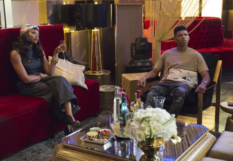 """EMPIRE: Pictured L-R: Taraji P. Henson as Cookie Lyon and Bryshere Gray as Hakeem Lyon in the """"Poor Yorick"""" episode of EMPIRE airing Wednesday, Oct. 14 (9:00-10:00 PM ET/PT) on FOX. ©2015 Fox Broadcasting Co. Cr: Chuck Hodes/FOX."""