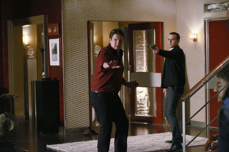 "CASTLE - ""The Nose"" - When a priceless work of art is stolen and its transporter murdered, Castle and Beckett must work with the key witness to track down the painting and sniff out the killer. With special guest star Stephnie Weir (""MADtv,"" ""The Comedians""). ""The Nose"" will air on MONDAY, OCTOBER 19 (10:01-11:00 p.m. ET/PT) on the ABC Television Network. (ABC/Mitchell Haaseth) NATHAN FILLION, AUBREY DEEKER"