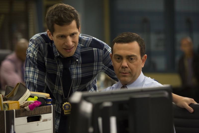 "BROOKLYN NINE-NINE: (L-R) Charles (Joe Lo Truglio) and Jake (Andy Samberg) in the ""Boyle's Hunch"" episode of BROOKLYN NINE-NINE airing Sunday, Oct. 4 (8:30-9:00 PM ET/PT) on FOX. ©2015 Fox Broadcasting Co. CR: John P Fleenor/FOX."