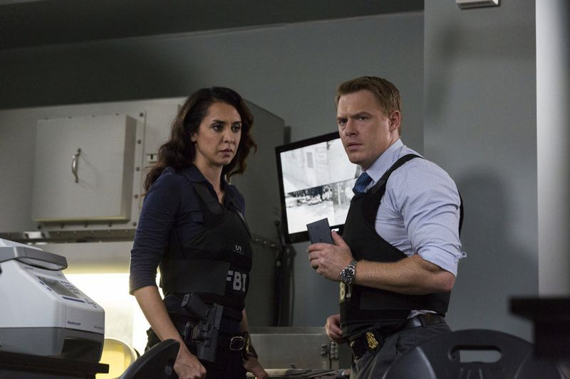 "THE BLACKLIST -- ""Eli Matchett"" Episode 303 -- Pictured: (l-r) Mozhan Marno as Samar Navabi, Diego Klattenhoff as Donald Ressler -- (Photo by: Christopher Saunders/NBC)"