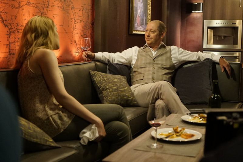 "THE BLACKLIST -- ""Eli Matchett"" Episode 303 -- Pictured: (l-r) Megan Boone as Liz Keen, James Spader as Red Reddington -- (Photo by: Peter Kramer/NBC)"