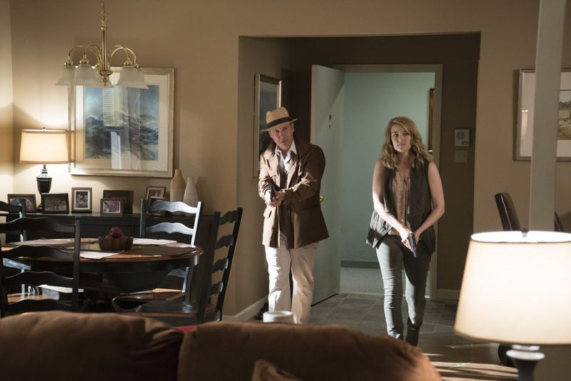 "THE BLACKLIST -- ""Eli Matchett"" Episode 303 -- Pictured: (l-r) James Spader as Red Reddington, Megan Boone as Liz Keen -- (Photo by: Virginia Sherwood/NBC)"