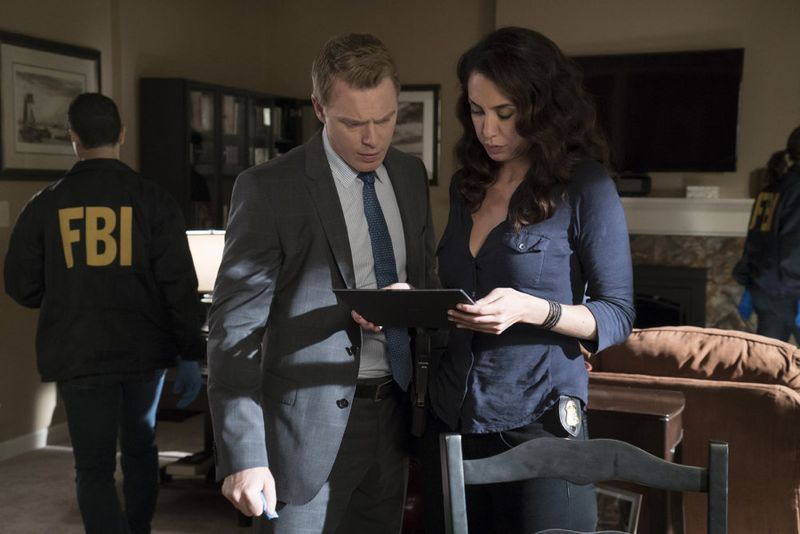 "THE BLACKLIST -- ""Eli Matchett"" Episode 303 -- Pictured: (l-r) Diego Klattenhoff as Donald Ressler, Mozhan Marno as Samar Navabi -- (Photo by: Virginia Sherwood/NBC)"