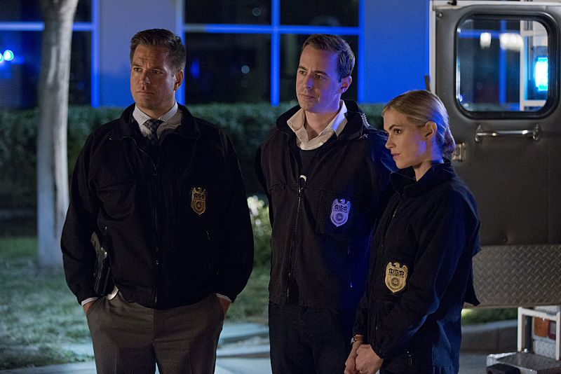 """Double Trouble"" -- Vance partners with Gibbs and returns to field duty when a murder case is connected to a former NCIS agent he locked up for stealing evidence, on NCIS, Tuesday, Oct. 13 (8:00-9:00 PM, ET/PT), on the CBS Television Network. Pictured left to right: Michael Weatherly, Sean Murray and Emily Wickersham Photo: Monty Brinton/CBS ©2015 CBS Broadcasting, Inc. All Rights Reserved"