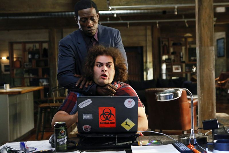 "THE PLAYER -- ""L.A. Takedown"" Episode 102 -- Pictured: (l-r) Wesley Snipes as Mr. Johnson, Dustin Ybarra as Donovan -- (Photo by: Vivian Zink/NBC)"
