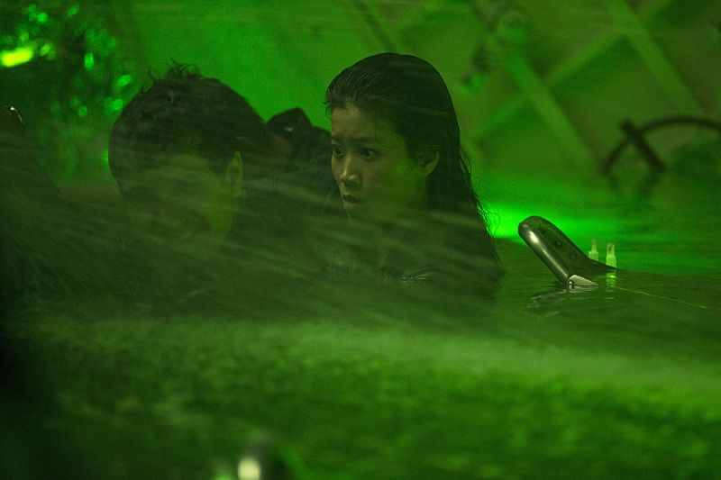 """""""Robots"""" -- Walter, Cabe and Happy are trapped with the crew in a top secret submarine when an explosion sends it to the bottom of the ocean with limited oxygen and a self-destruct function that will soon activate, on SCORPION, Monday, Oct. 12 (9:00-9:59 PM, ET/PT) on the CBS Television Network. Pictured: Jadyn Wong as Happy Quinn, Elyes Gabel as Walter O'Brien. Photo: Sonja Flemming/CBS ©2015 CBS Broadcasting, Inc. All Rights Reserved"""
