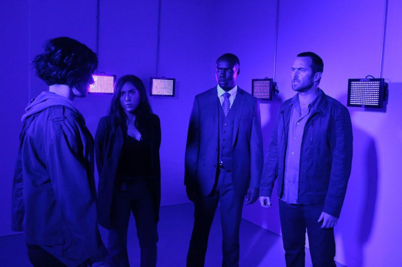 "BLINDSPOT -- ""Bone May Rot"" Episode 104 -- Pictured: (l-r) Jaimie Alexander as Jane Doe, Audrey Esparza as Tasha Zapata, Rob Brown as Edgar Reed, Sullivan Stapleton as Kurt Weller -- (Photo by: Giovanni Rufino/NBC)"