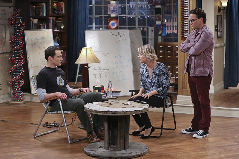 """""""The 2003 Approximation"""" -- Sheldon (Jim Parsons, left) learns of an impending change in his living arrangements and decides to revert back to 2003, a simpler time before he met Leonard (Johnny Galecki, right) and Penny (Kaley Cuoco, center), on THE BIG BANG THEORY, Monday, Oct. 12 (8:00-8:31 PM, ET/PT), on the CBS Television Network. Photo: Darren Michaels/Warner Bros. Entertainment Inc. © 2015 WBEI. All rights reserved."""